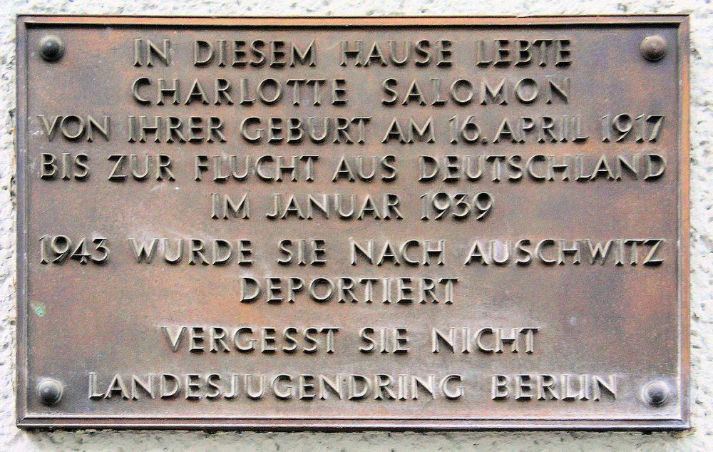 Gedenktafel für Charlotte Salomon, Wielandstraße 15, Berlin